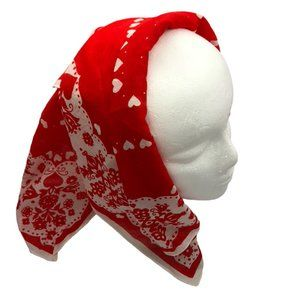 Square Scarf - Red Hearts and Abstract Design